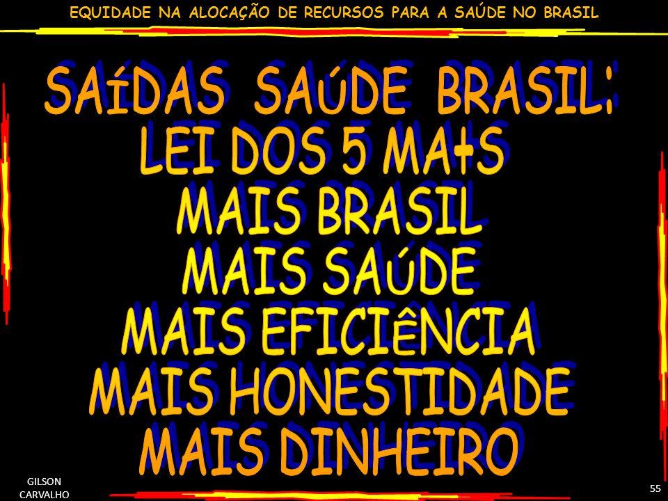 EQUIDADE NA ALOCAÇÃO DE RECURSOS PARA A SAÚDE NO BRASIL GILSON CARVALHO 55