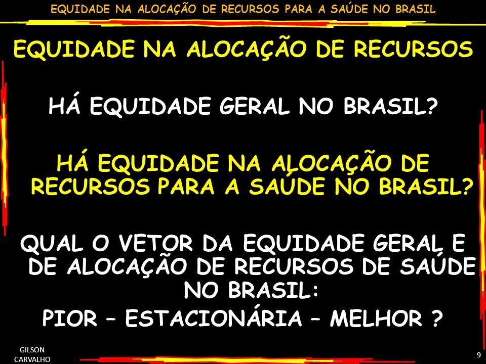 EQUIDADE NA ALOCAÇÃO DE RECURSOS PARA A SAÚDE NO BRASIL GILSON CARVALHO 9 EQUIDADE NA ALOCAÇÃO DE RECURSOS HÁ EQUIDADE GERAL NO BRASIL? HÁ EQUIDADE NA