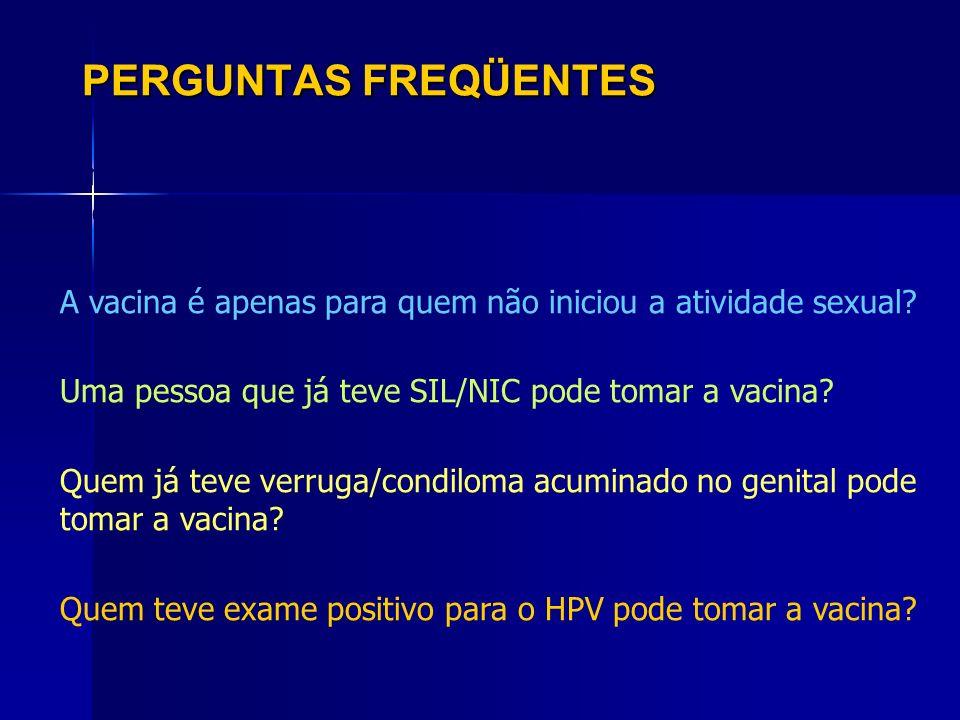 PERGUNTAS FREQÜENTES É necessário fazer a pesquisa de HPV antes de tomar a vacina? A vacina é apenas para quem não iniciou a atividade sexual? Uma pes