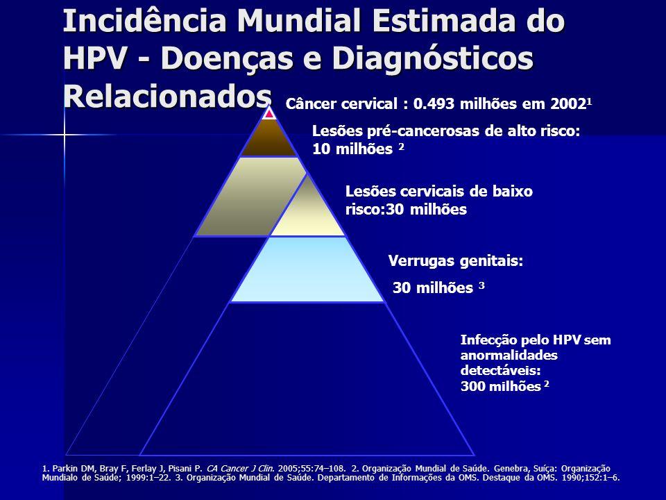 Incidência Mundial Estimada do HPV - Doenças e Diagnósticos Relacionados Câncer cervical : 0.493 milhões em 2002 1 Lesões pré-cancerosas de alto risco
