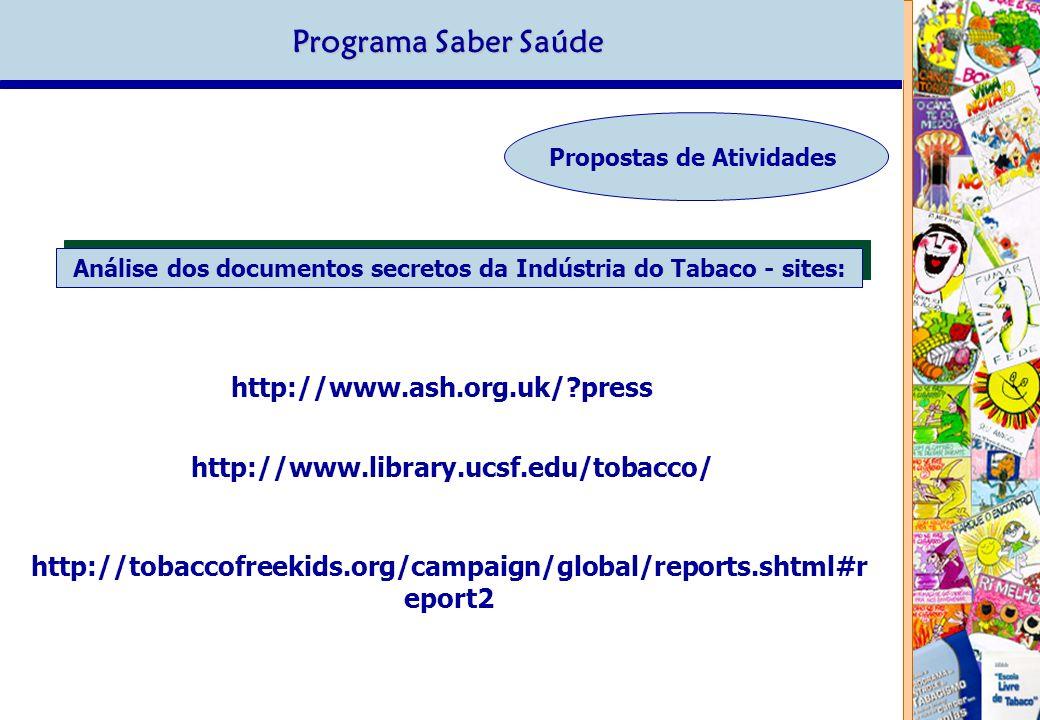 Programa Saber Saúde Propostas de Atividades http://www.ash.org.uk/?press http://www.library.ucsf.edu/tobacco/ http://tobaccofreekids.org/campaign/global/reports.shtml#r eport2 Análise dos documentos secretos da Indústria do Tabaco - sites: