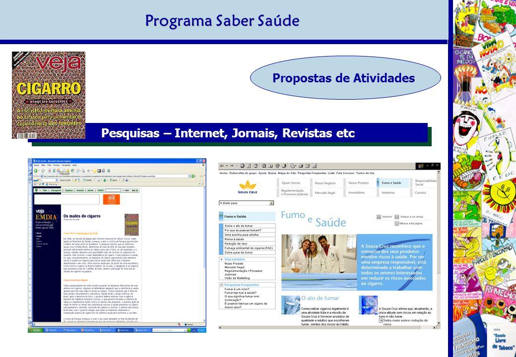 Programa Saber Saúde Propostas de Atividades Pesquisas – Internet, Jornais, Revistas etc