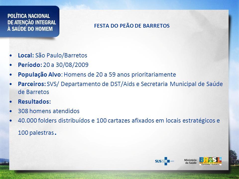FESTA DO PEÃO DE BARRETOS Local: São Paulo/Barretos Período: 20 a 30/08/2009 População Alvo: Homens de 20 a 59 anos prioritariamente Parceiros: SVS/ D