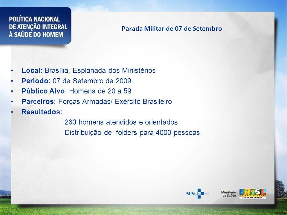 Parada Militar de 07 de Setembro Local: Brasília, Esplanada dos Ministérios Período: 07 de Setembro de 2009 Público Alvo: Homens de 20 a 59 Parceiros: