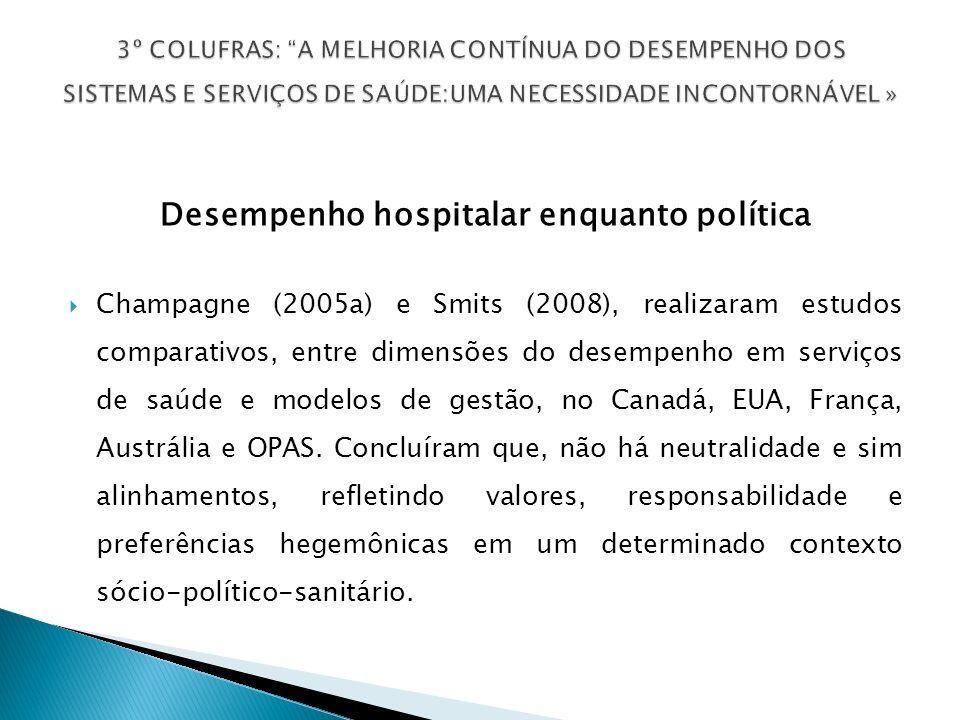 Desempenho hospitalar enquanto política Champagne (2005a) e Smits (2008), realizaram estudos comparativos, entre dimensões do desempenho em serviços de saúde e modelos de gestão, no Canadá, EUA, França, Austrália e OPAS.