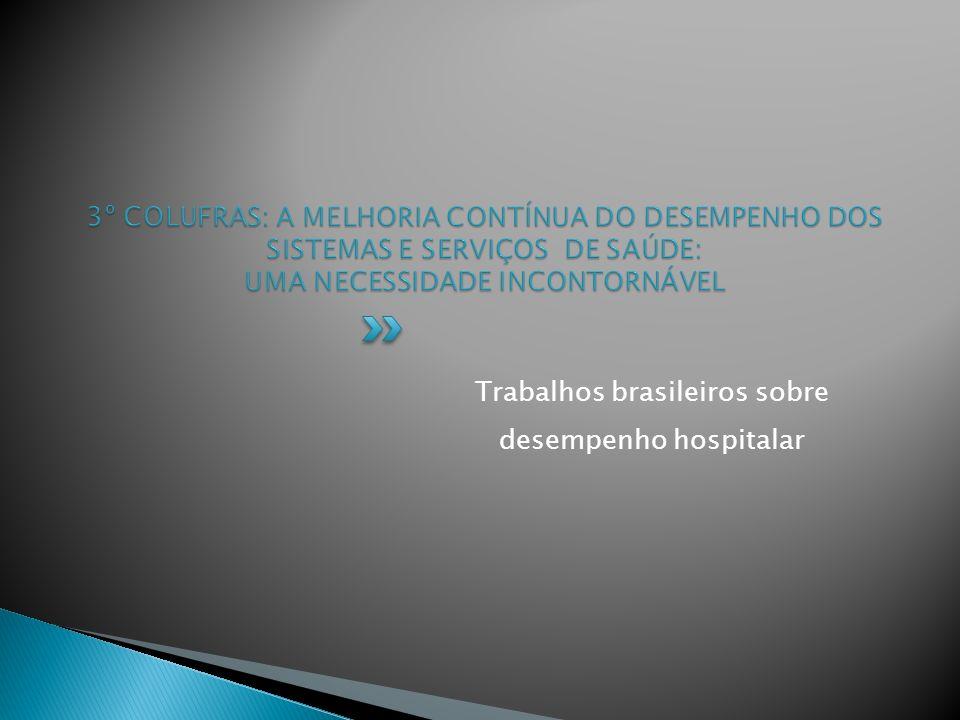 Trabalhos brasileiros sobre desempenho hospitalar