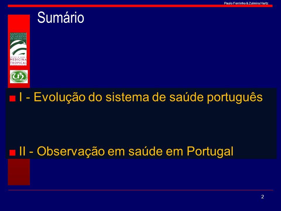 Paulo Ferrinho & Zulmira Hartz Sumário I - Evolução do sistema de saúde português II - Observação em saúde em Portugal 2