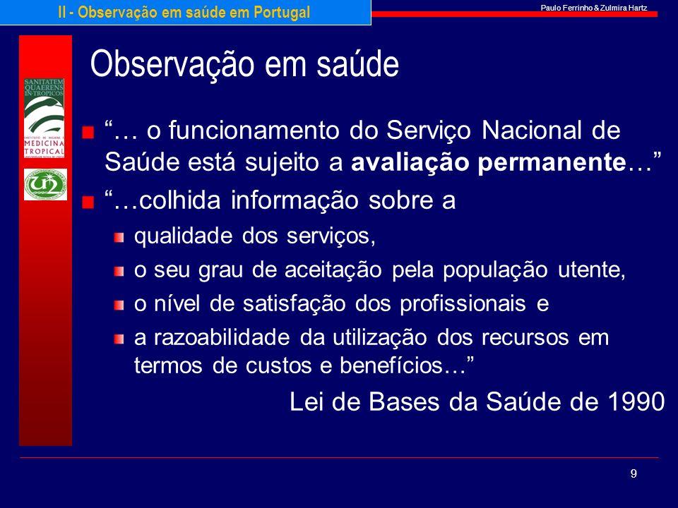 Paulo Ferrinho & Zulmira Hartz Observação em saúde … o funcionamento do Serviço Nacional de Saúde está sujeito a avaliação permanente… …colhida inform