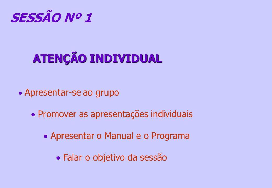 SESSÃO Nº 1 Apresentar-se ao grupo Promover as apresentações individuais Apresentar o Manual e o Programa Falar o objetivo da sessão ATENÇÃO INDIVIDUA
