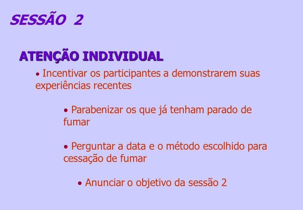 ATENÇÃO INDIVIDUAL SESSÃO 2 Incentivar os participantes a demonstrarem suas experiências recentes Parabenizar os que já tenham parado de fumar Pergunt