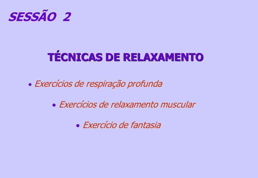 SESSÃO 2 TÉCNICAS DE RELAXAMENTO Exercícios de respiração profunda Exercícios de relaxamento muscular Exercício de fantasia