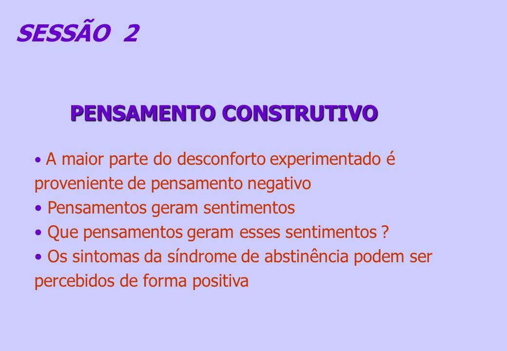 SESSÃO 2 PENSAMENTO CONSTRUTIVO A maior parte do desconforto experimentado é proveniente de pensamento negativo Pensamentos geram sentimentos Que pens