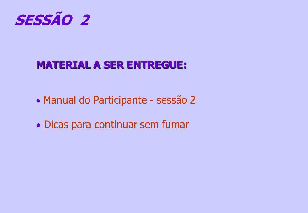 MATERIAL A SER ENTREGUE: Manual do Participante - sessão 2 Dicas para continuar sem fumar SESSÃO 2