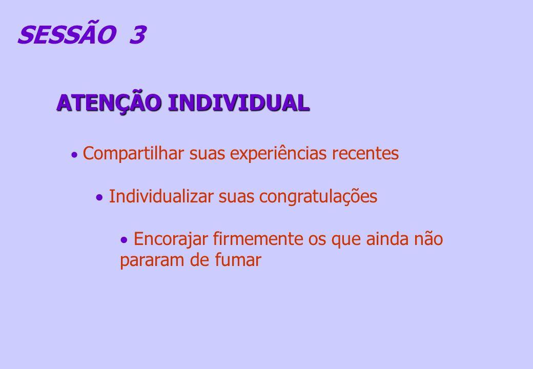 SESSÃO 3 ATENÇÃO INDIVIDUAL Compartilhar suas experiências recentes Individualizar suas congratulações Encorajar firmemente os que ainda não pararam d