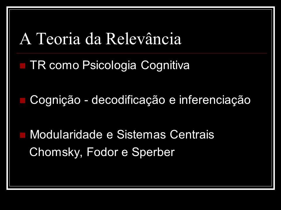 A Teoria da Relevância TR como Psicologia Cognitiva Cognição - decodificação e inferenciação Modularidade e Sistemas Centrais Chomsky, Fodor e Sperber