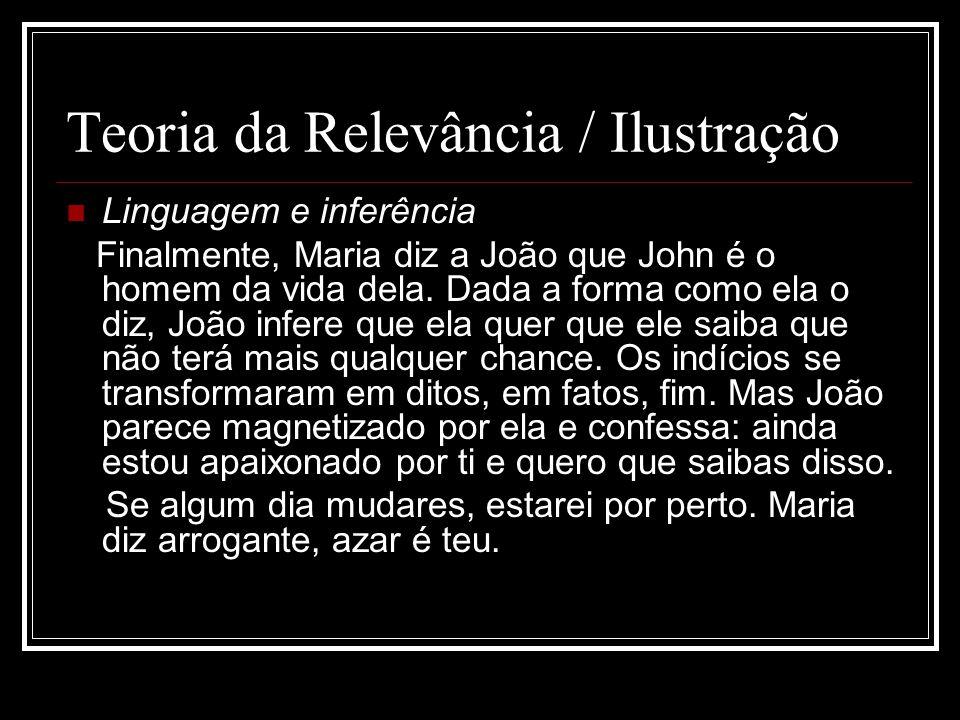 Teoria da Relevância / Ilustração Linguagem e inferência Finalmente, Maria diz a João que John é o homem da vida dela. Dada a forma como ela o diz, Jo