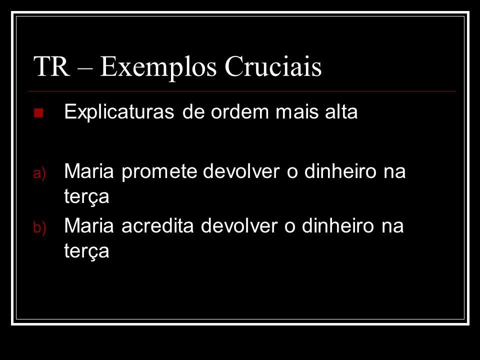 TR – Exemplos Cruciais Explicaturas de ordem mais alta a) Maria promete devolver o dinheiro na terça b) Maria acredita devolver o dinheiro na terça