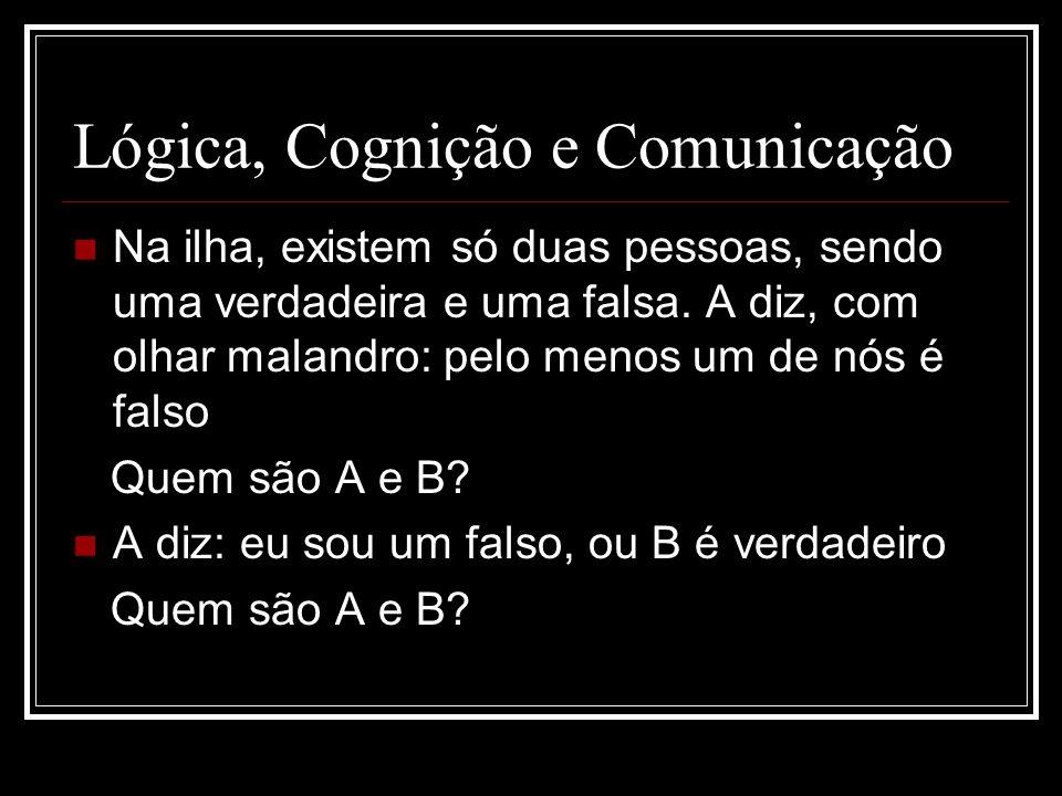 Lógica, Cognição e Comunicação Na ilha, existem só duas pessoas, sendo uma verdadeira e uma falsa. A diz, com olhar malandro: pelo menos um de nós é f
