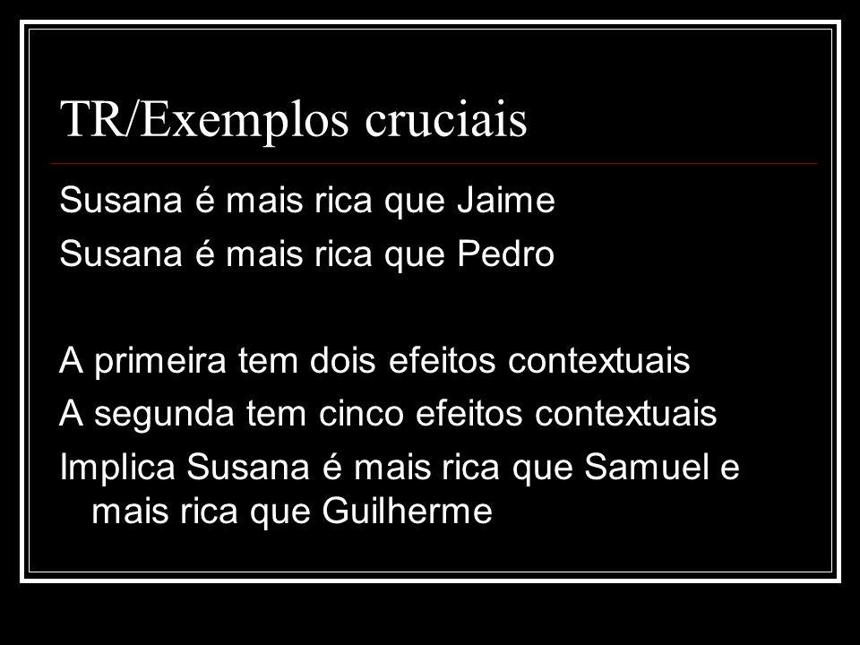 TR/Exemplos cruciais Susana é mais rica que Jaime Susana é mais rica que Pedro A primeira tem dois efeitos contextuais A segunda tem cinco efeitos con