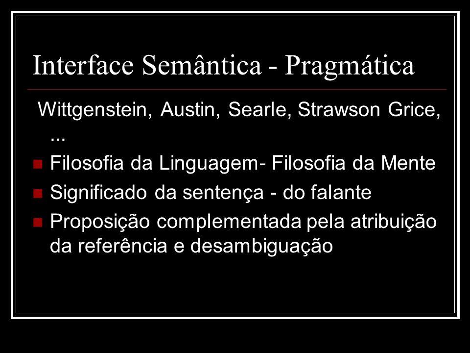 Interface Semântica - Pragmática Wittgenstein, Austin, Searle, Strawson Grice,... Filosofia da Linguagem- Filosofia da Mente Significado da sentença -