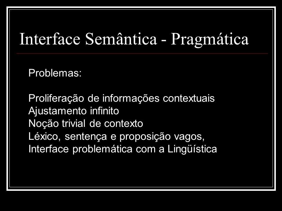 Interface Semântica - Pragmática Problemas: Proliferação de informações contextuais Ajustamento infinito Noção trivial de contexto Léxico, sentença e