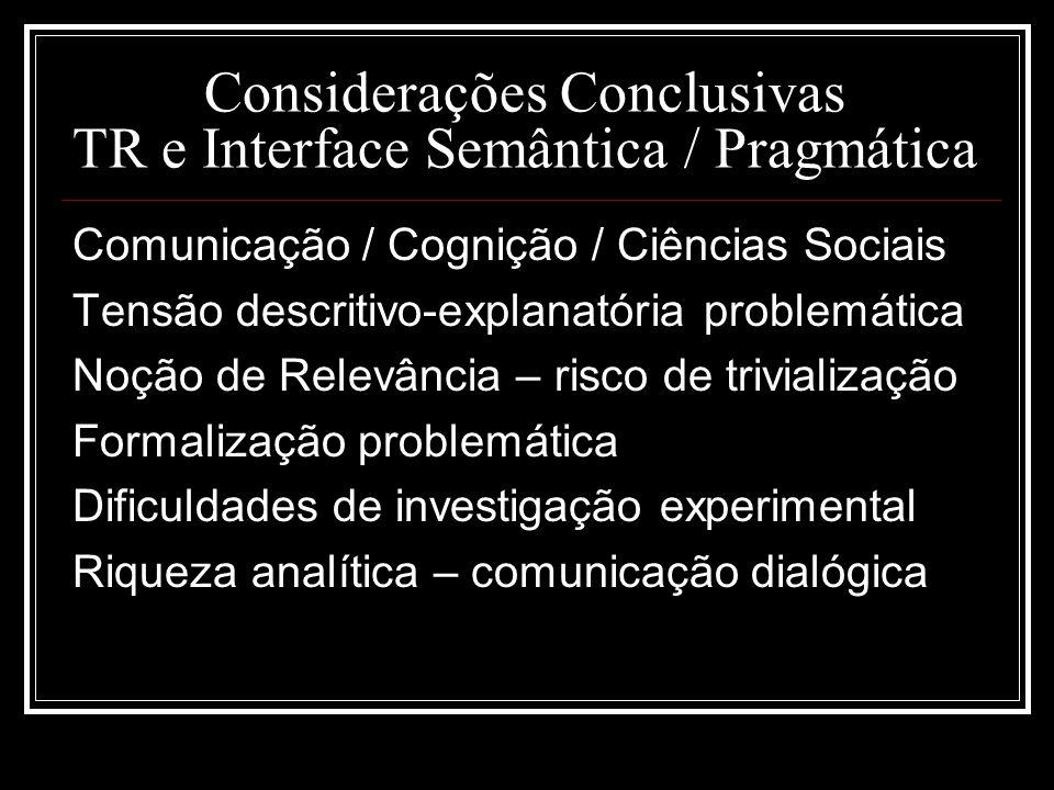 Considerações Conclusivas TR e Interface Semântica / Pragmática Comunicação / Cognição / Ciências Sociais Tensão descritivo-explanatória problemática
