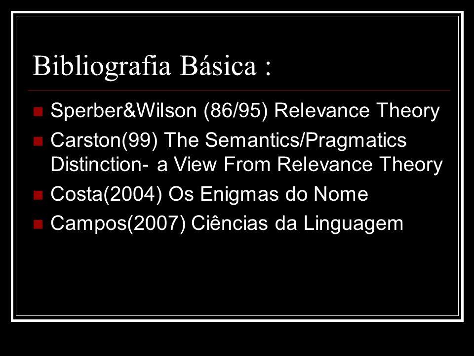 Bibliografia Básica : Sperber&Wilson (86/95) Relevance Theory Carston(99) The Semantics/Pragmatics Distinction- a View From Relevance Theory Costa(200