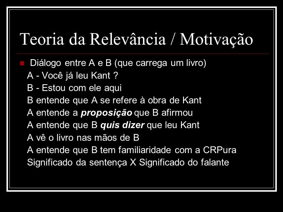 Teoria da Relevância / Motivação Diálogo entre A e B (que carrega um livro) A - Você já leu Kant ? B - Estou com ele aqui B entende que A se refere à