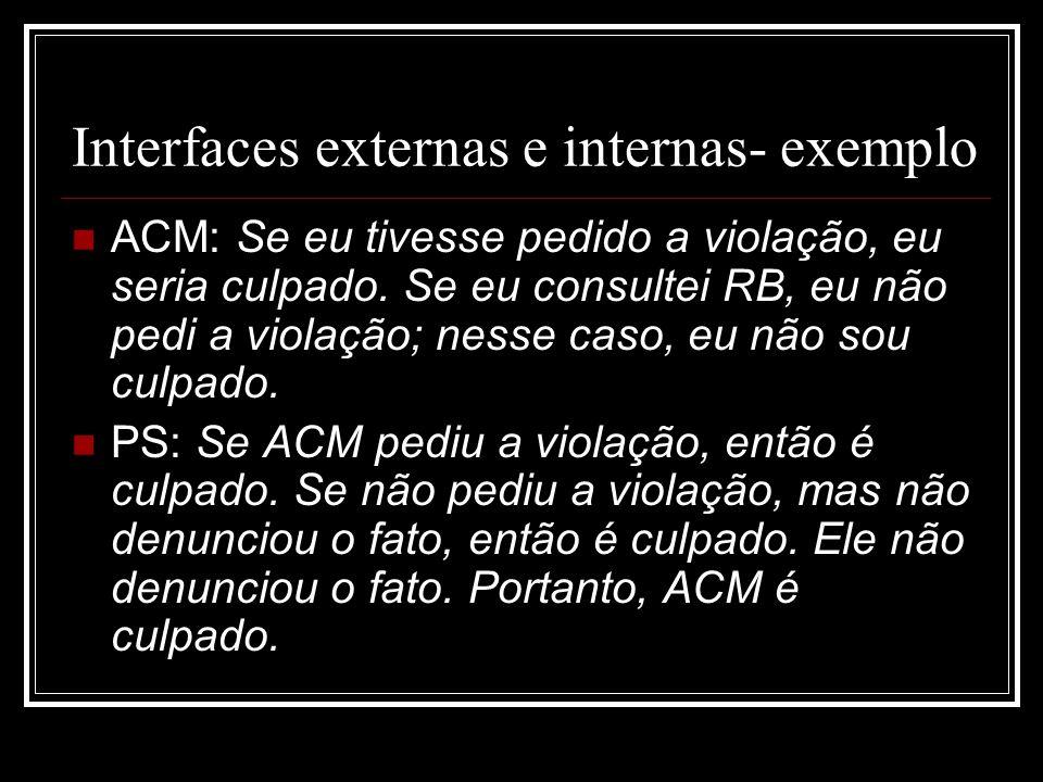Interfaces externas e internas- exemplo ACM: Se eu tivesse pedido a violação, eu seria culpado.