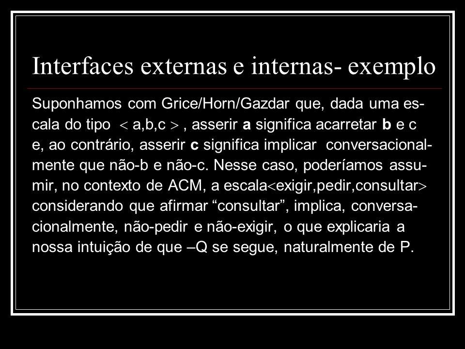 Interfaces externas e internas- exemplo Suponhamos com Grice/Horn/Gazdar que, dada uma es- cala do tipo a,b,c, asserir a significa acarretar b e c e, ao contrário, asserir c significa implicar conversacional- mente que não-b e não-c.