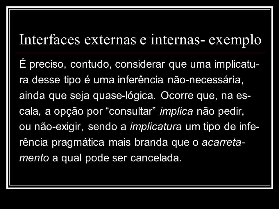 Interfaces externas e internas- exemplo É preciso, contudo, considerar que uma implicatu- ra desse tipo é uma inferência não-necessária, ainda que seja quase-lógica.