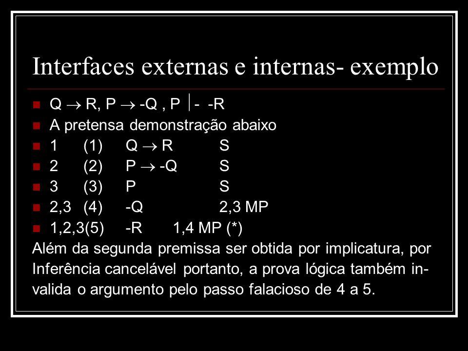 Interfaces externas e internas- exemplo Q R, P -Q, P - -R A pretensa demonstração abaixo 1 (1)Q RS 2 (2)P -QS 3 (3)PS 2,3 (4)-Q 2,3 MP 1,2,3(5)-R1,4 MP (*) Além da segunda premissa ser obtida por implicatura, por Inferência cancelável portanto, a prova lógica também in- valida o argumento pelo passo falacioso de 4 a 5.