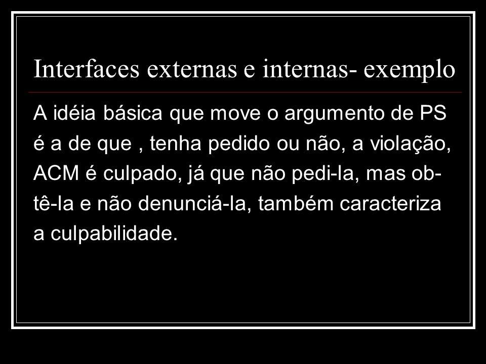 Interfaces externas e internas- exemplo A idéia básica que move o argumento de PS é a de que, tenha pedido ou não, a violação, ACM é culpado, já que não pedi-la, mas ob- tê-la e não denunciá-la, também caracteriza a culpabilidade.