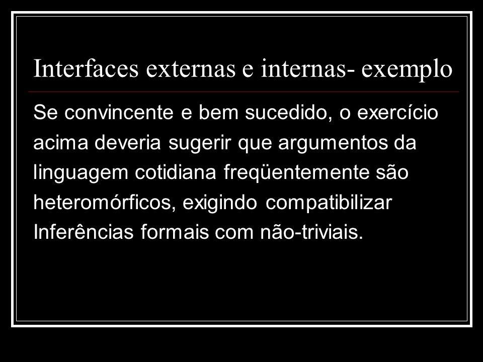 Interfaces externas e internas- exemplo Se convincente e bem sucedido, o exercício acima deveria sugerir que argumentos da linguagem cotidiana freqüentemente são heteromórficos, exigindo compatibilizar Inferências formais com não-triviais.