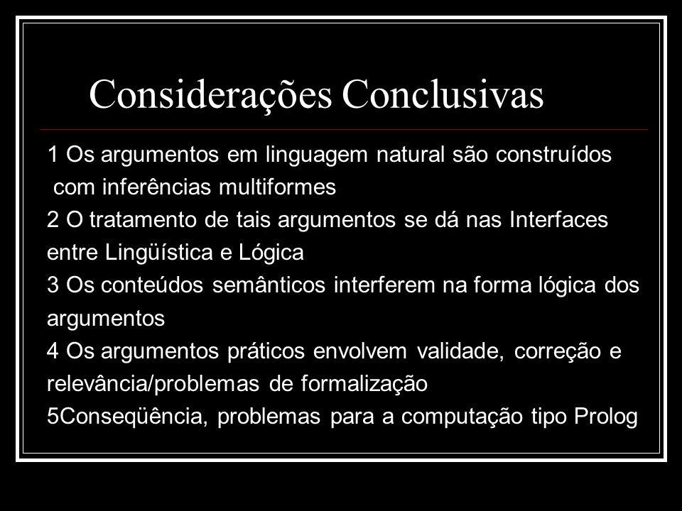 Considerações Conclusivas 1 Os argumentos em linguagem natural são construídos com inferências multiformes 2 O tratamento de tais argumentos se dá nas Interfaces entre Lingüística e Lógica 3 Os conteúdos semânticos interferem na forma lógica dos argumentos 4 Os argumentos práticos envolvem validade, correção e relevância/problemas de formalização 5Conseqüência, problemas para a computação tipo Prolog