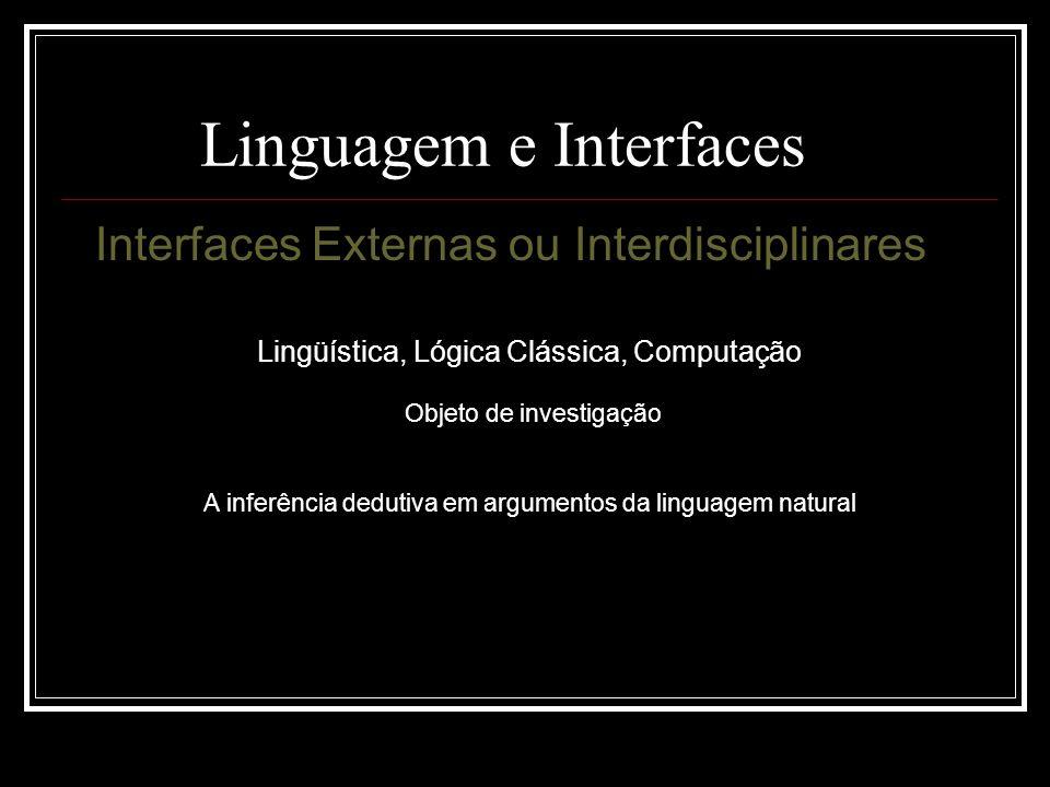 Linguagem e Interfaces Interfaces Externas ou Interdisciplinares Lingüística, Lógica Clássica, Computação Objeto de investigação A inferência dedutiva em argumentos da linguagem natural