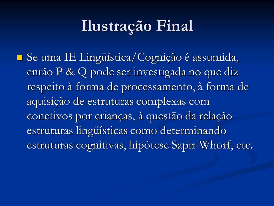 Ilustração Final Se uma IE Lingüística/Cognição é assumida, então P & Q pode ser investigada no que diz respeito à forma de processamento, à forma de
