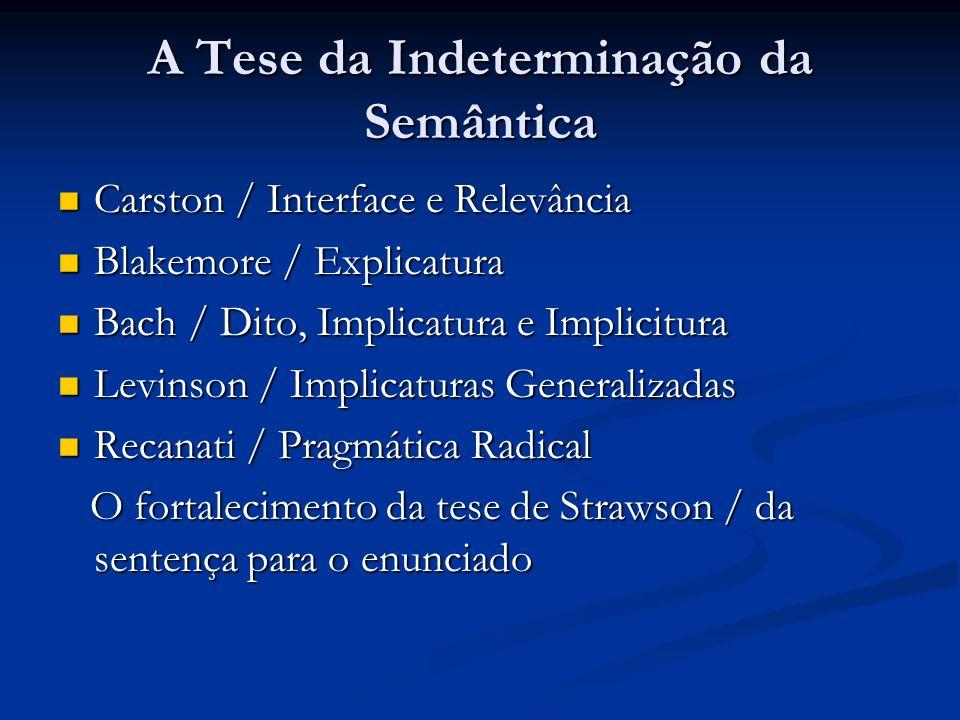 Argumentos Problemáticos para a Interface Semântica/Pragmática Russel e Strawson / a questão era metodológica Russel e Strawson / a questão era metodológica A Interface interna ou intradisciplinar depende da Interface externa ou Interdisciplinar; A Interface interna ou intradisciplinar depende da Interface externa ou Interdisciplinar; O objeto da Interface lingüística entre Semântica/Pragmática pode ser desenhado na fronteira com a Lógica, com as Ciências Cognitivas ou com Teorias do Discurso; O objeto da Interface lingüística entre Semântica/Pragmática pode ser desenhado na fronteira com a Lógica, com as Ciências Cognitivas ou com Teorias do Discurso; O significado é aquilo que a teoria do significado assumida diz que ele é.