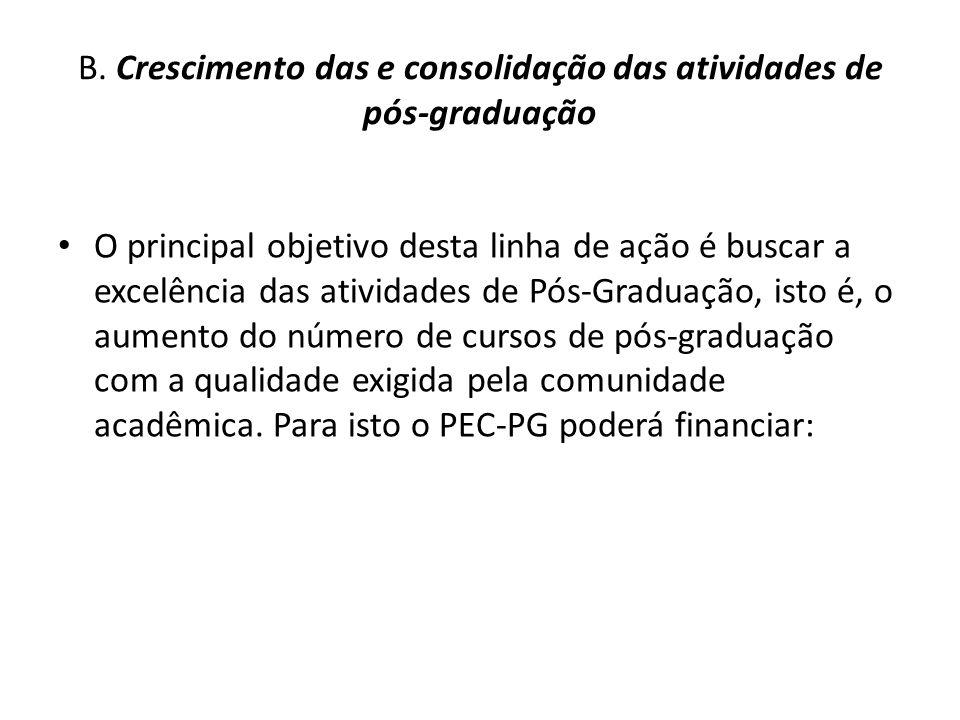 B. Crescimento das e consolidação das atividades de pós-graduação O principal objetivo desta linha de ação é buscar a excelência das atividades de Pós