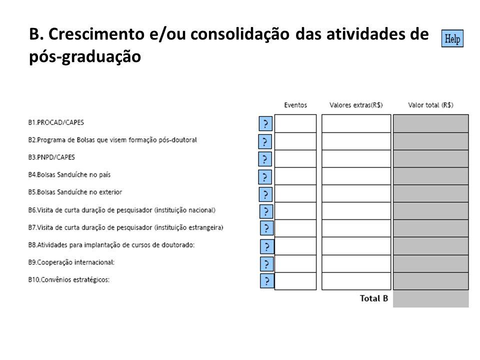 B. Crescimento e/ou consolidação das atividades de pós-graduação