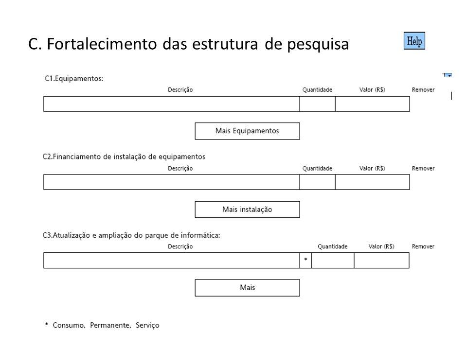 C. Fortalecimento das estrutura de pesquisa