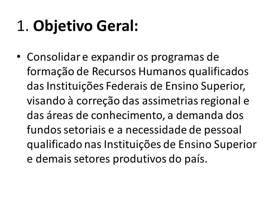 1. Objetivo Geral: Consolidar e expandir os programas de formação de Recursos Humanos qualificados das Instituições Federais de Ensino Superior, visan