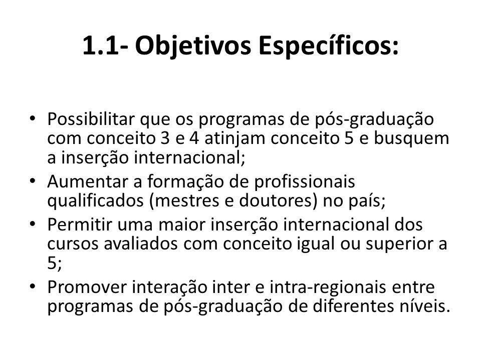 1.1- Objetivos Específicos: Possibilitar que os programas de pós-graduação com conceito 3 e 4 atinjam conceito 5 e busquem a inserção internacional; Aumentar a formação de profissionais qualificados (mestres e doutores) no país; Permitir uma maior inserção internacional dos cursos avaliados com conceito igual ou superior a 5; Promover interação inter e intra-regionais entre programas de pós-graduação de diferentes níveis.