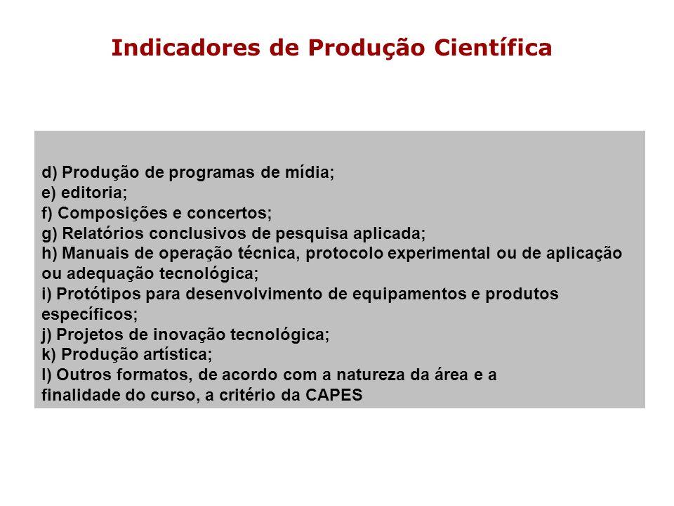 Indicadores de Produção Científica d) Produção de programas de mídia; e) editoria; f) Composições e concertos; g) Relatórios conclusivos de pesquisa a