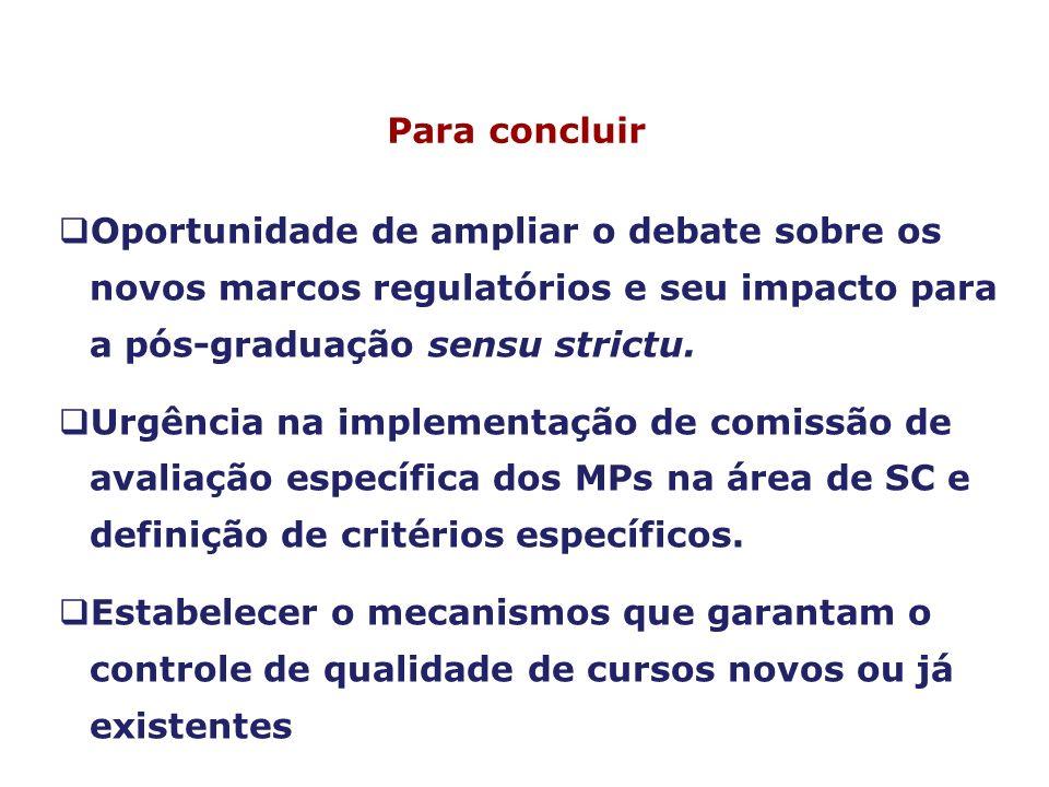 Oportunidade de ampliar o debate sobre os novos marcos regulatórios e seu impacto para a pós-graduação sensu strictu. Urgência na implementação de com
