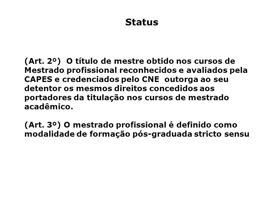 Status (Art. 2º) O título de mestre obtido nos cursos de Mestrado profissional reconhecidos e avaliados pela CAPES e credenciados pelo CNE outorga ao