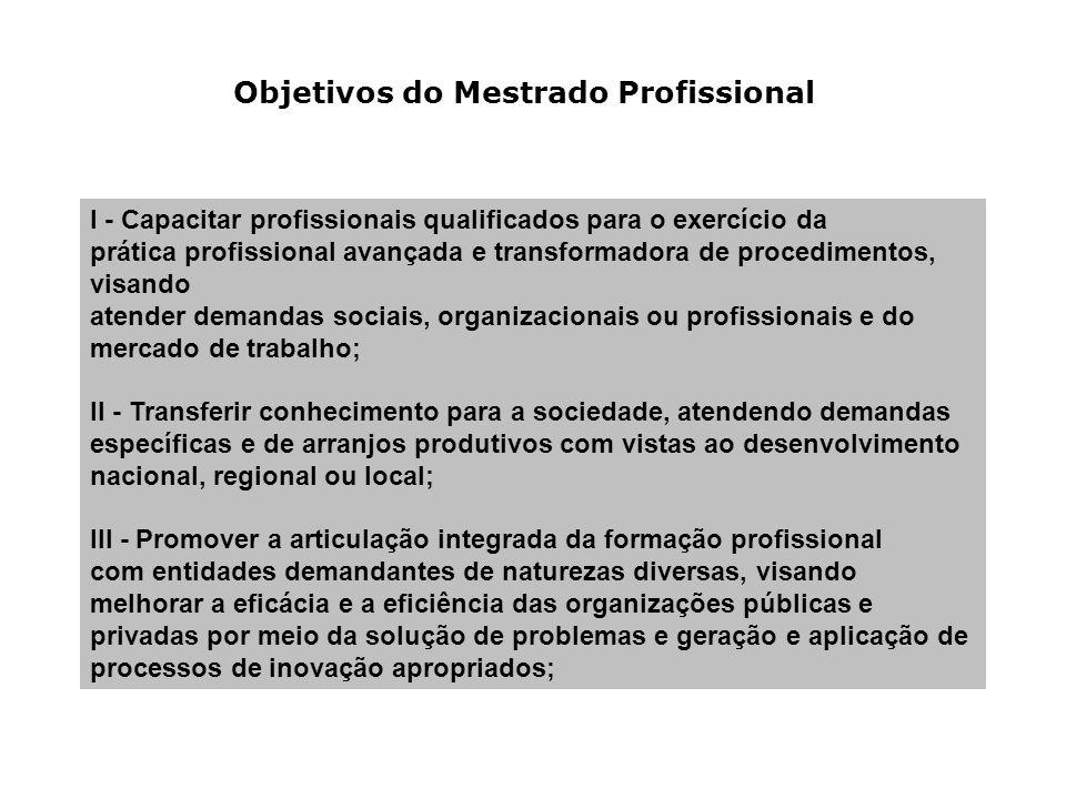 Objetivos do Mestrado Profissional I - Capacitar profissionais qualificados para o exercício da prática profissional avançada e transformadora de proc