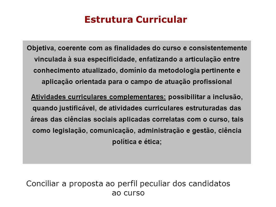 Estrutura Curricular Objetiva, coerente com as finalidades do curso e consistentemente vinculada à sua especificidade, enfatizando a articulação entre