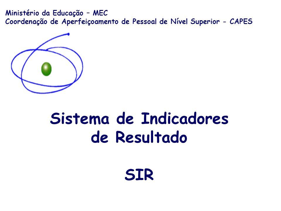 Sistema de Indicadores de Resultado SIR Ministério da Educação – MEC Coordenação de Aperfeiçoamento de Pessoal de Nível Superior - CAPES