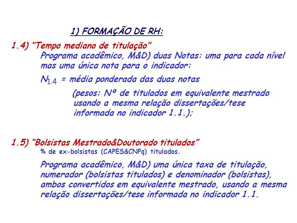 1) FORMAÇÃO DE RH: 1.4) Tempo mediano de titulação Programa acadêmico, M&D) duas Notas: uma para cada nível mas uma única nota para o indicador: N 1.4